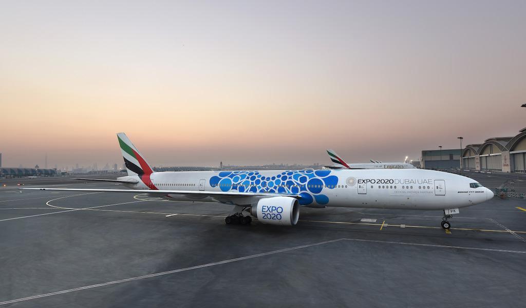 Emirates unveils new Expo 2020 Dubai livery - Масштабная аэрография на борту Boeing 777 Emirates по случаю Expo 2020