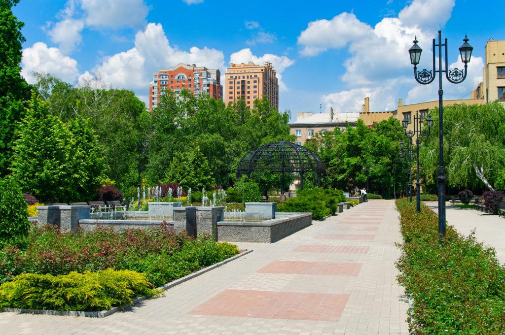Донецк. Украина. Green skyline of Donetsk.