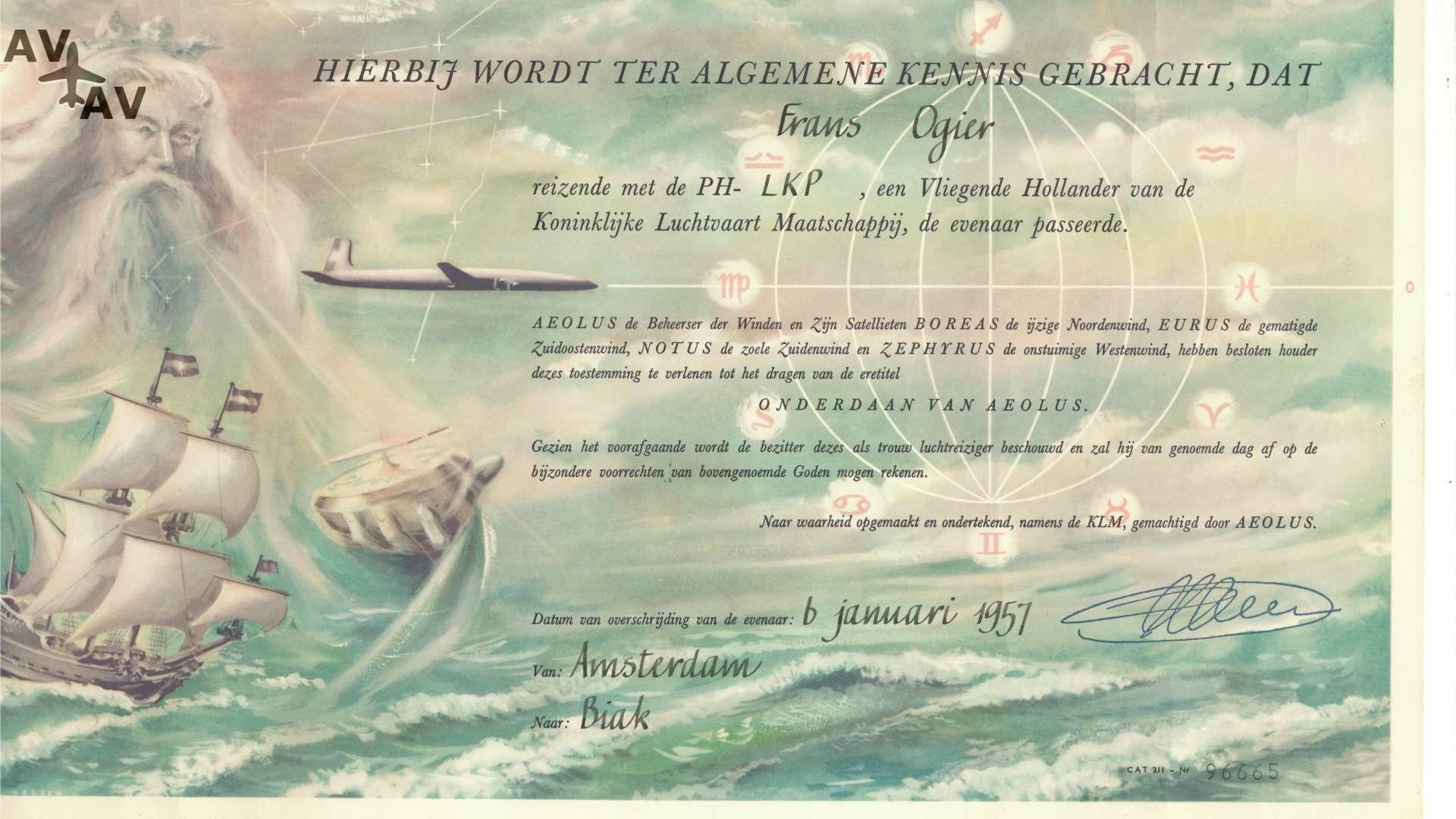 1957 Oorkonde equator 1920x1080 - Интересные факты из авиации: сертификат о пересечении пассажиром экватора