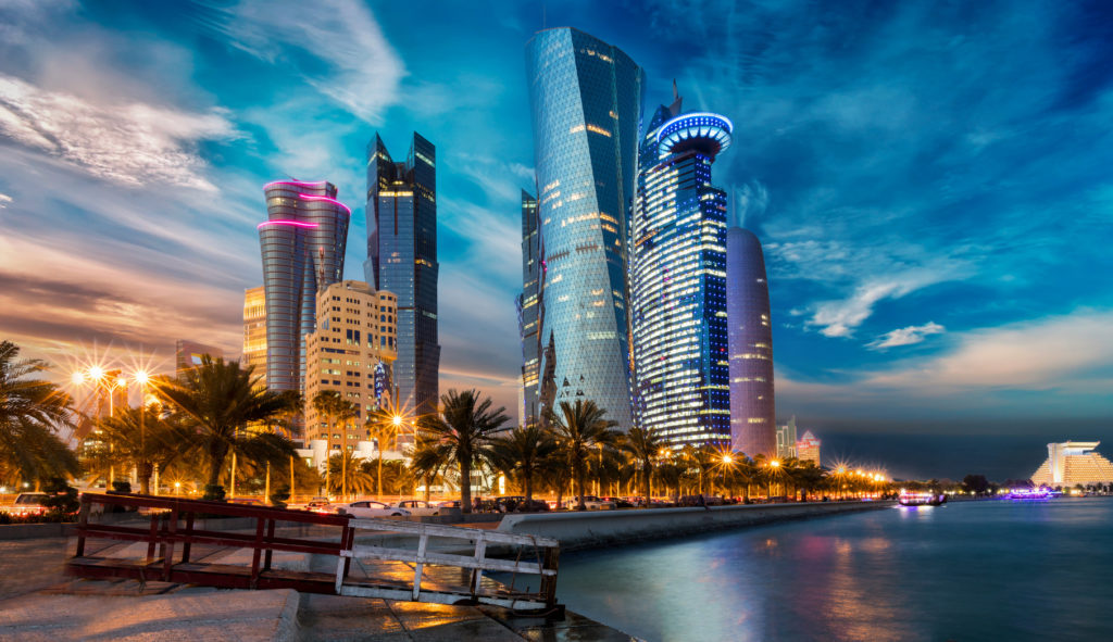 Доха. Катар. Doha City in Katar bei Sonnenuntergang