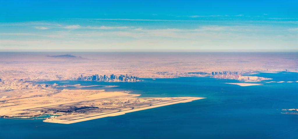 Международный аэропорт Хамад - OTHH Aerial view of Doha and Hamad International Airport. The capital of Qatar