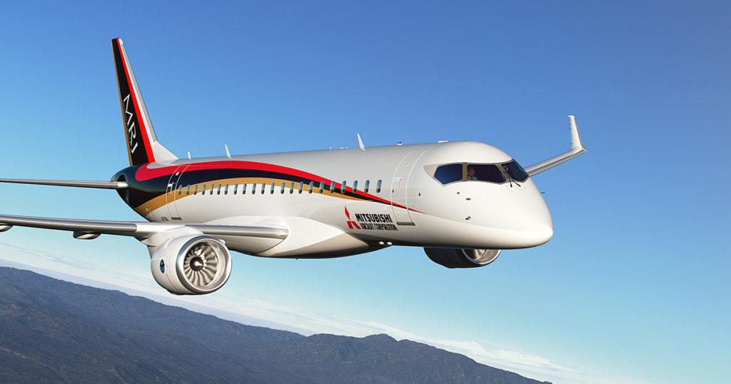 MRJ flying 1024x538 - Bombardier  обвинил  Mitsubishi Aircraft в промышленном шпионаже и подал иск в суд