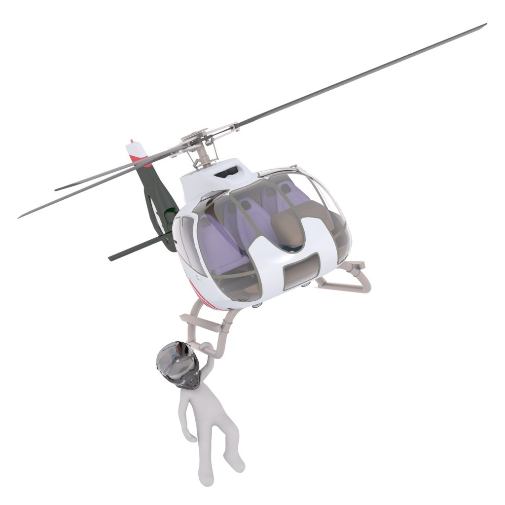 вертолет и человек