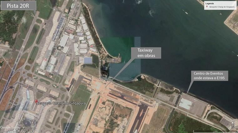 Спутниковое изображение показывает работы, которые препятствуют наземному сообщению между концами аэропорта