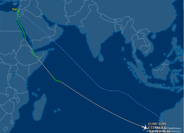 Маршрут рекордного перелета El Al