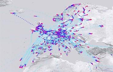 Изображение показывает объем данных, полученных коммерческими рейсами в Европе до пандемии коронавируса