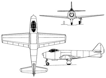 Проекции первого аргентинского реактивного самолета