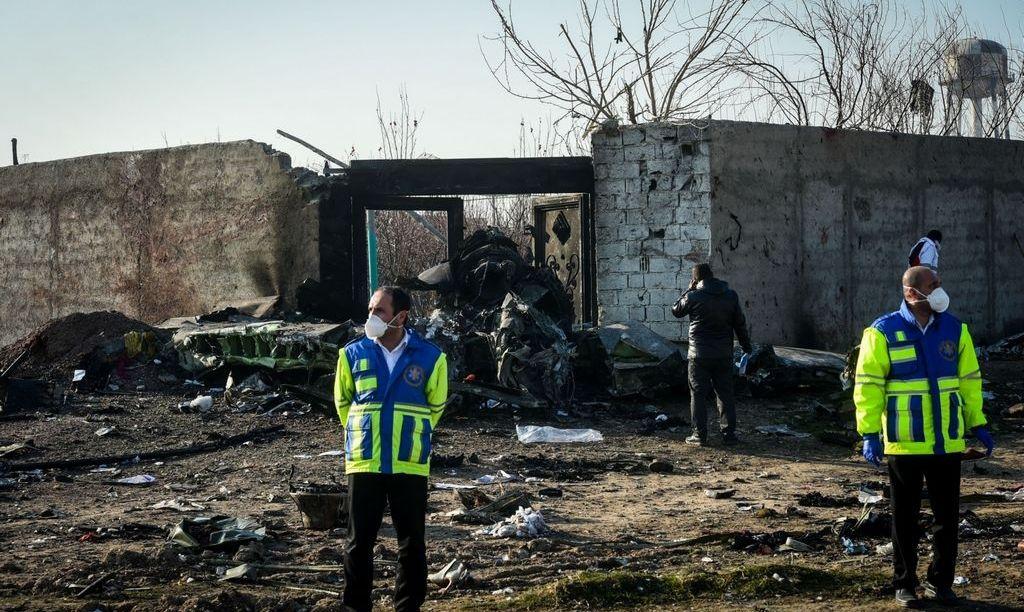 Место крушения самолета Международных авиалиний Украины
