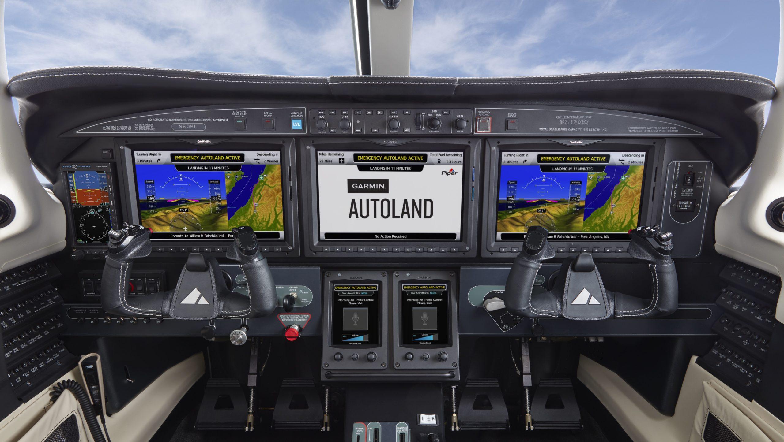Кокпит Piper M600/SLS с системой Autoland