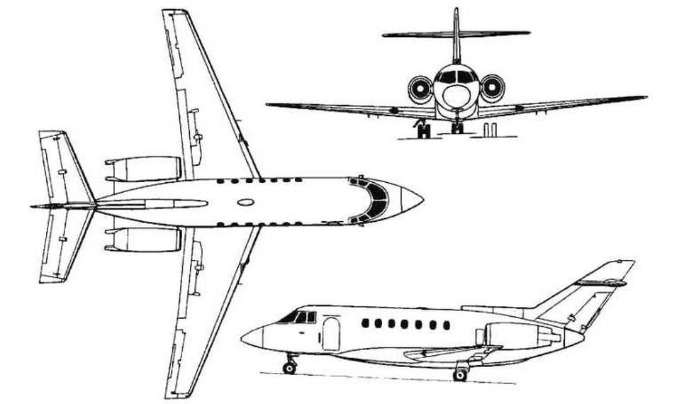 BAe-1000 вид сверху, в профиль и спереди