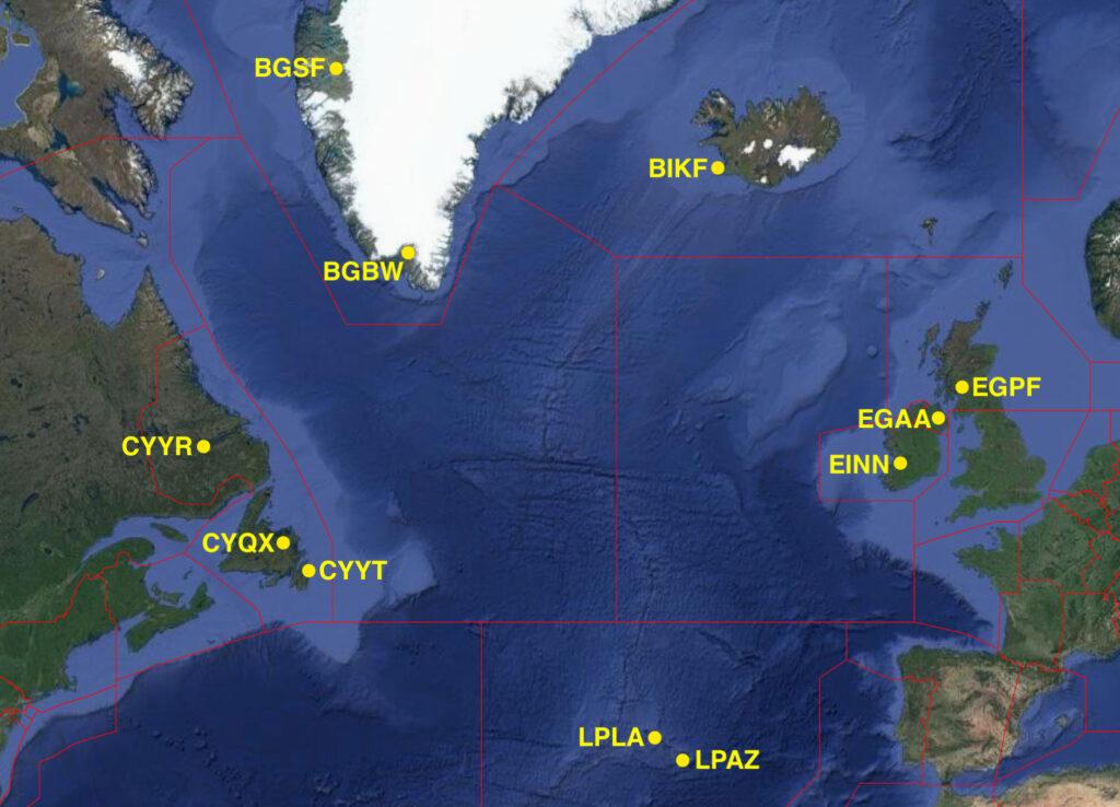 Аэропорты Северной Атлантики, доступные для аварийной посадки