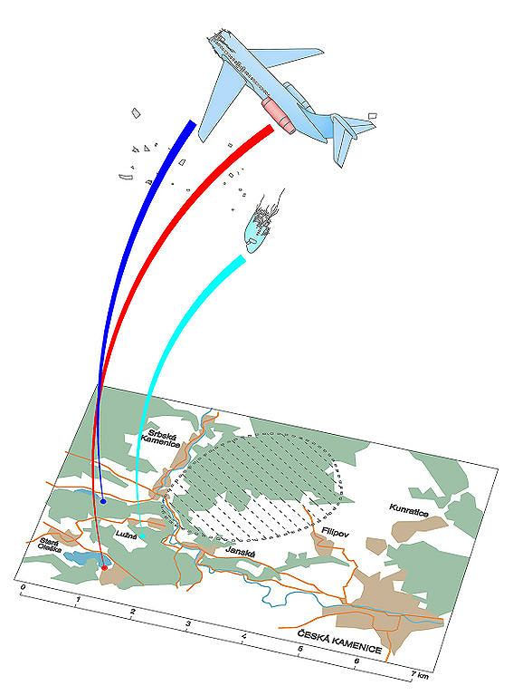 Схематическая рекострукция падения обломков самолета Вулович