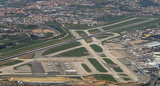 Аэропот Лиссабона с высоты птичьего полета