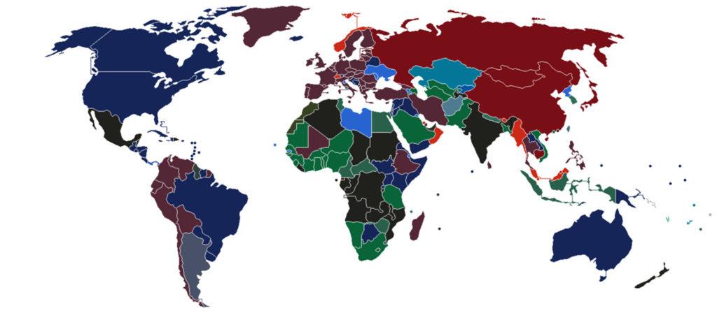 Карта, показывающая цвета паспортов по всему миру