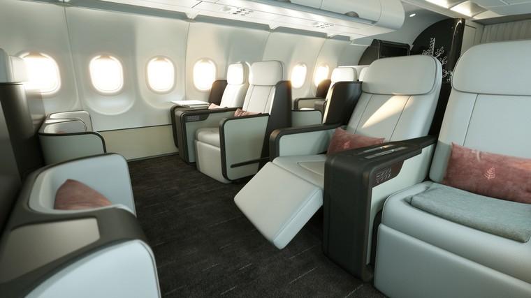 Салон бизнес-класса Airbus A321LR компании Four Seasons