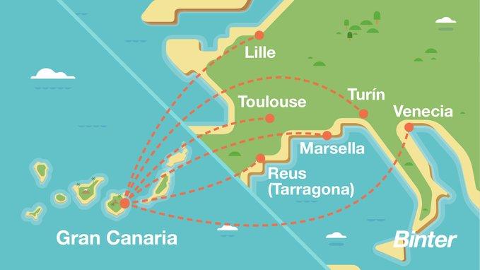 Карта новых маршрутов авиакомпании Binter Canarias