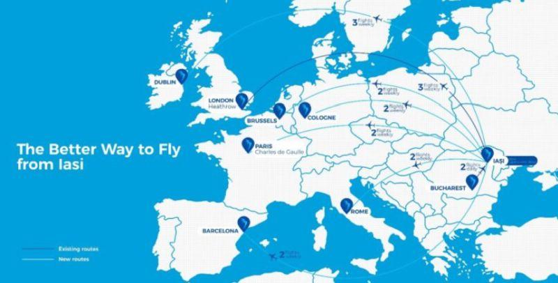 Карта новых маршрутов Blue Air