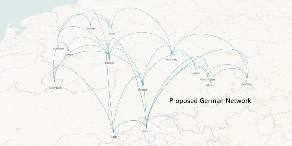 Карта маршрутов аэротакси Lilium